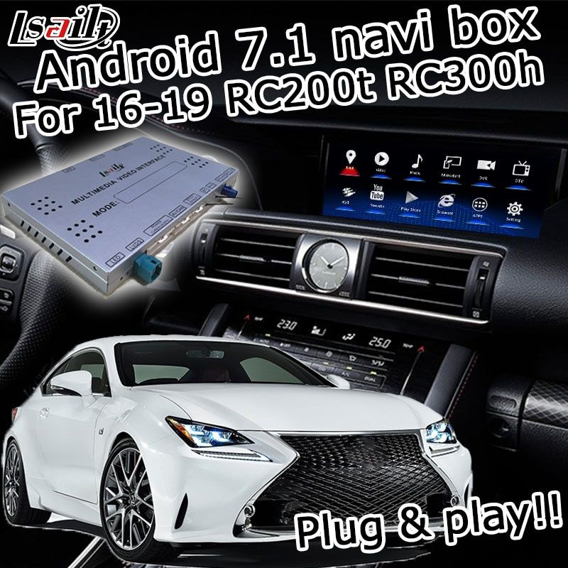 Android GPS navigation box für Lexus RCF RC300h RC200t RC300 2013-2019 etc video interface knopf touch control Carplay durch lsailt