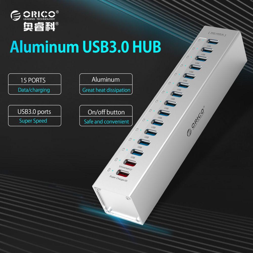 ORICO Externe USB HUB Aluminium 13-port 5 Gbps USB3.0 Naben Splitter für Macbook Laptop PC mit 2 Ladeausgänge für PC Laptop