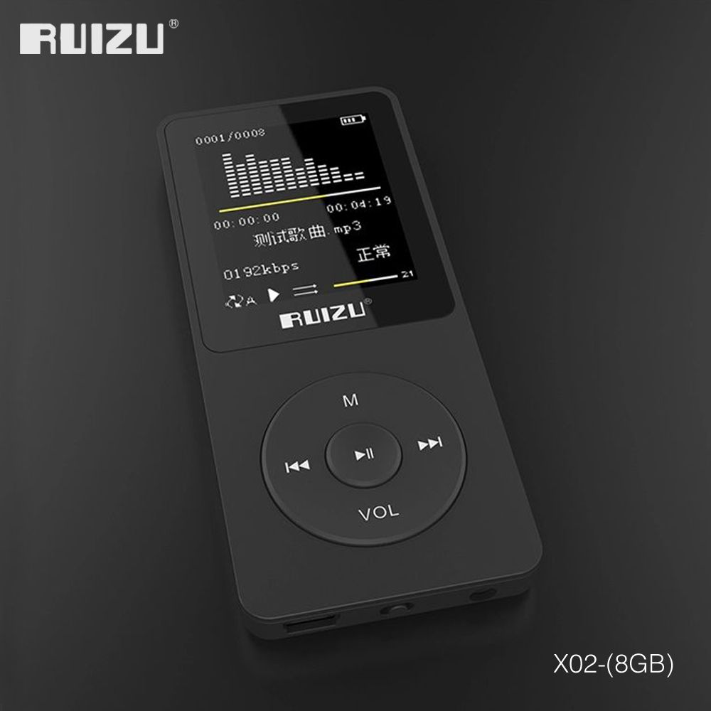 2016 100% original English <font><b>version</b></font> Ultrathin MP3 Player with 8GB storage and 1.8 Inch Screen can play 80h, Original RUIZU X02