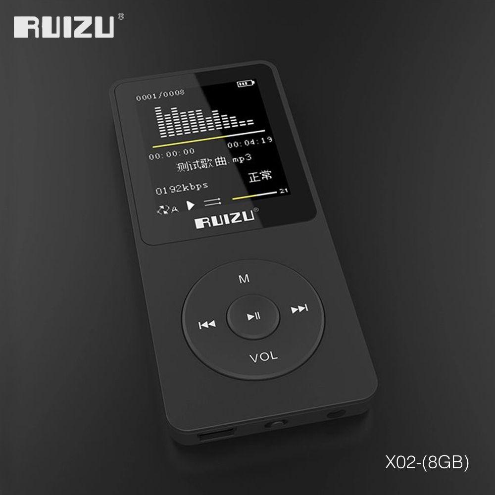 2016 100% version anglaise originale lecteur MP3 ultra-mince avec stockage de 8 go et écran de 1.8 pouces peut jouer 80 h, original RUIZU X02