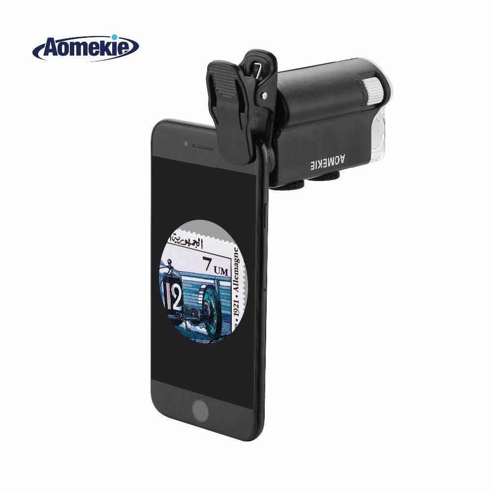 AOMEKIE 60X-100X Microscope Zoom Loupe pour Téléphone portable Caméra Tissu Biologie Observer L'évaluation De Bijoux Microscope avec LED UV