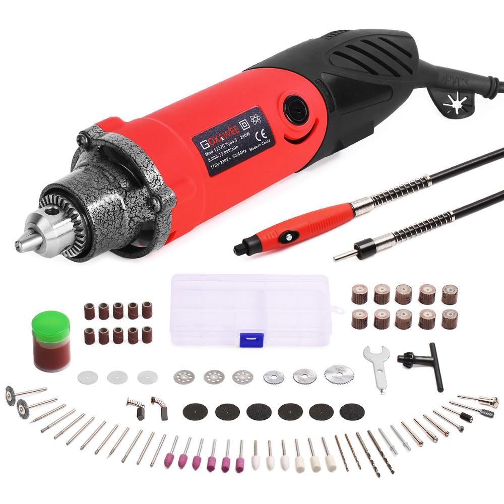 GOXAWEE 82 pièces Perceuse Électrique Mini Rotatif Trop Kit Multifonctionnel Ensemble D'outils Électriques avec Arbre Flexible Polyvalent Accessoires Pour Dremel