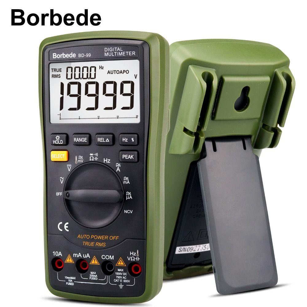 Borbede BD-99 Digital Multimeter 20000 Counts Auto Range DC AC Resistance Capacitance Peak Hold True RMS NCV Diode Tester