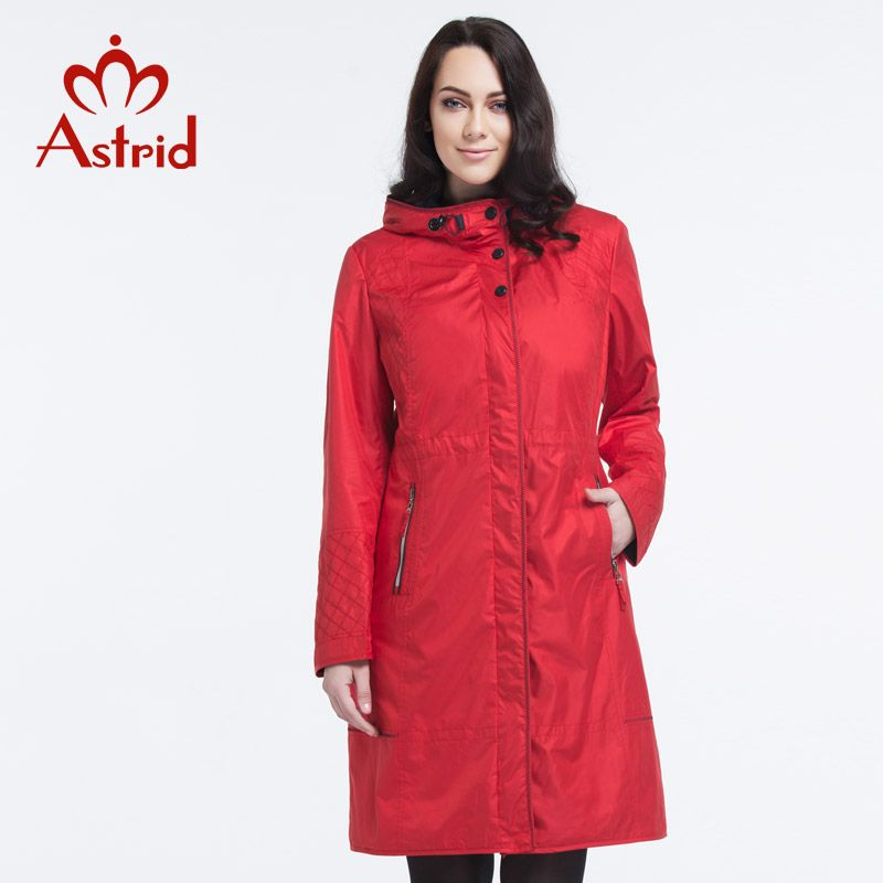 Astrid 2018 New Women red Trench Coat Fashion long trench Hooded Plus Size ladies Outwear factory sell freeshipping 5XL AS-2615