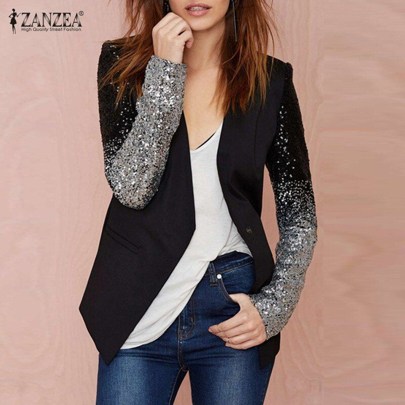 ZANZEA Fashion Women Jacket Coat 2018 Blazers Suit Spring Autumn Long Sleeve Lapel Silver Black Sequin Elegant Blazer feminino
