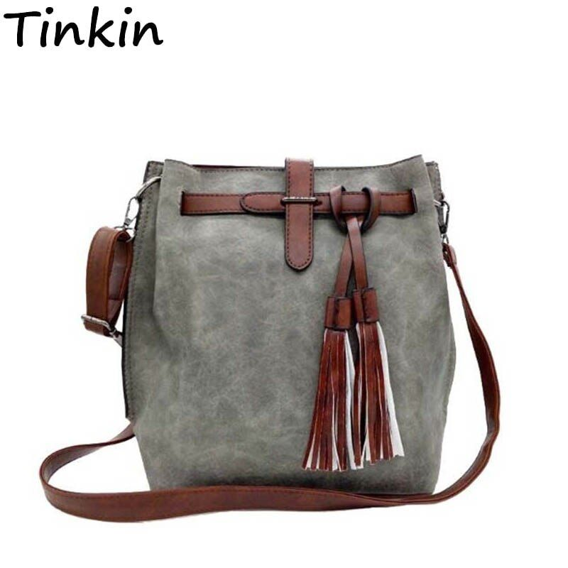Tinkin Women Vintage PU Shoulder Bag Female Retro Daily <font><b>Messenger</b></font> Bag All-match Shopping Bucket Bag Classy Tassel Dames Tassen