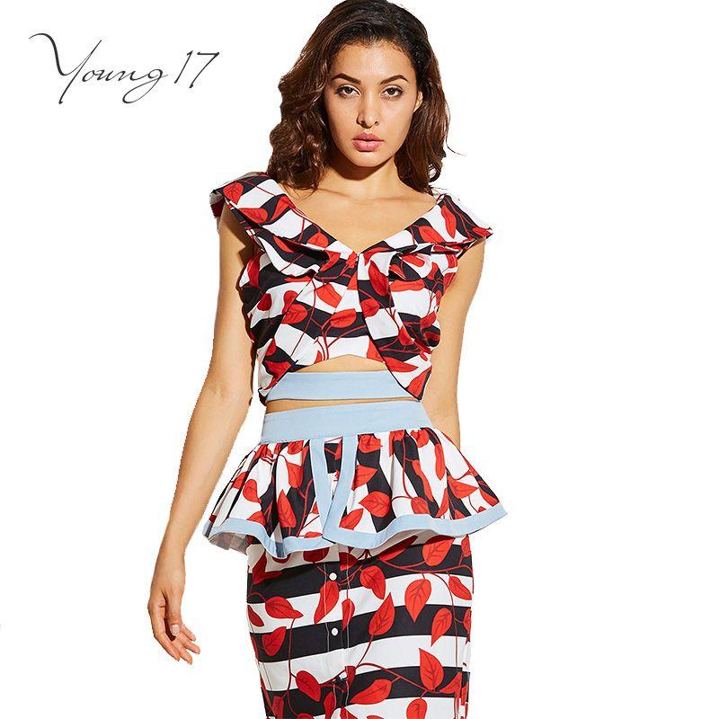 Young17 2017 женские с цветочным принтом спинки рубашка с v-образным вырезом оборками выдалбливают модные короткие женские вечерние элегантный т...