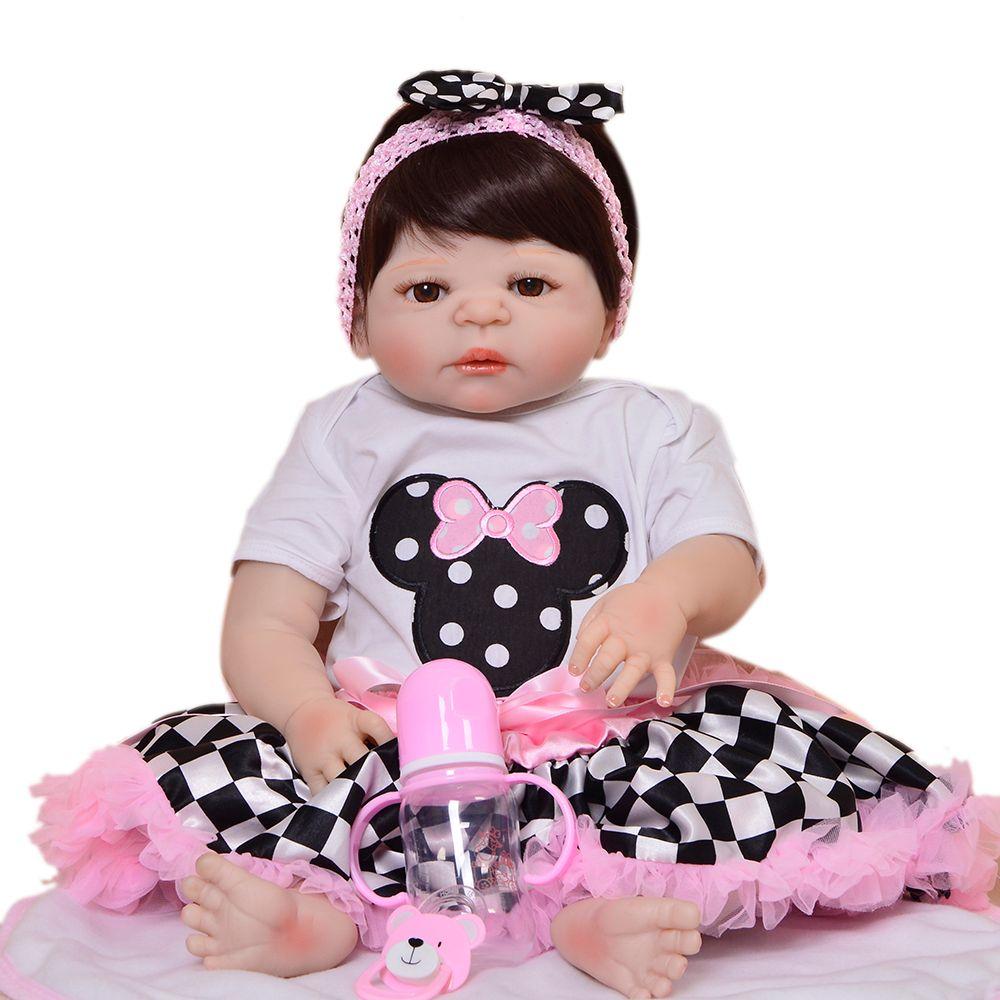 Lifelike 23'' 57cm Reborn Alive Dolls Full Body Silicone Baby Doll Toy For Children's Day Festival Xmas Gifts Wear Checker Skirt
