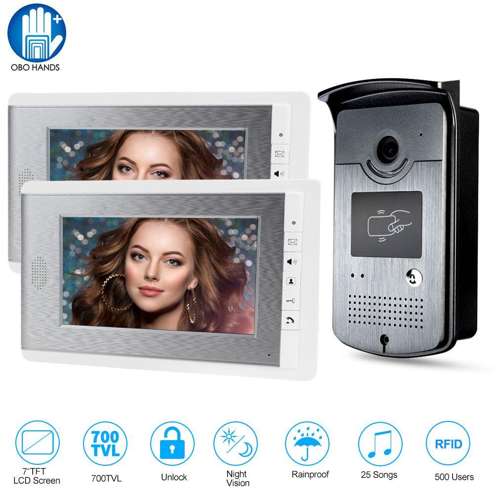 Hause Intercom Video Tür Telefon RFID Kamera Access Control System mit 2 Monitore 7 ''TFT Farbe Bildschirme Unterstützung EM entriegelung