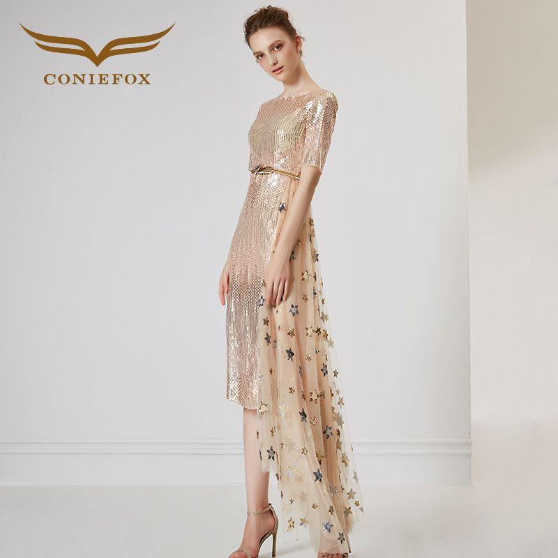 CONIEFOX 32086 de Moda Sexy sexy asimétrica Ladies Retro elegance Apliques prom vestidos de partido vestido de noche vestido de 2017 del verano