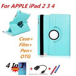 360 Degrés de Rotation PU Housse En Cuir pour apple Ipad 2 3 4 pour ipad4 avec Retina Smart Stand Magnétique Couverture, film et stylo + OTG