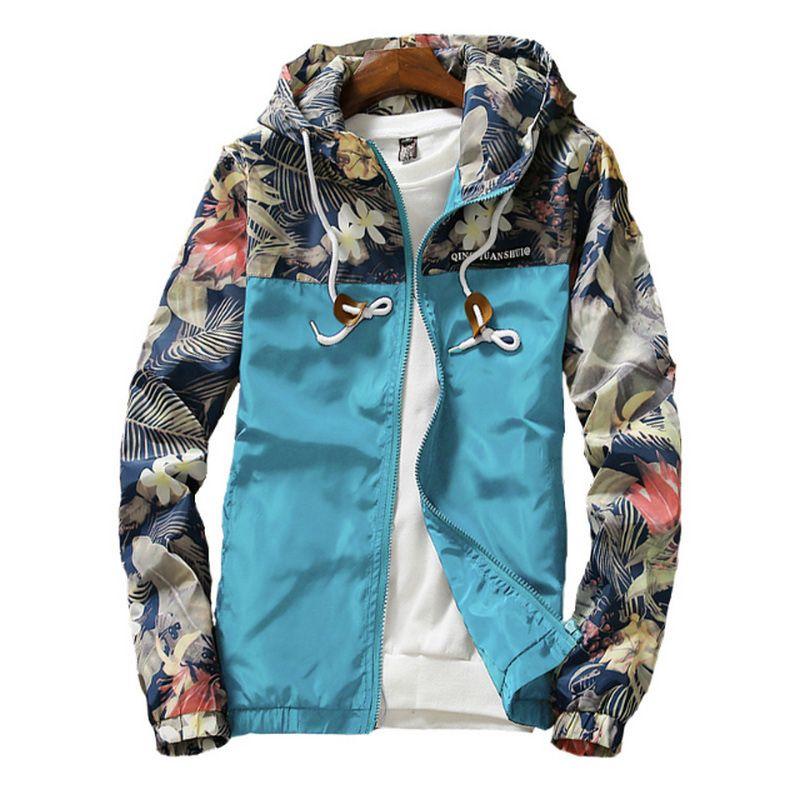 Women's Hooded Jackets 2019 Spring Causal Flowers Windbreaker Women Basic Jackets Coats Zipper Lightweight Jackets Bomber Famale