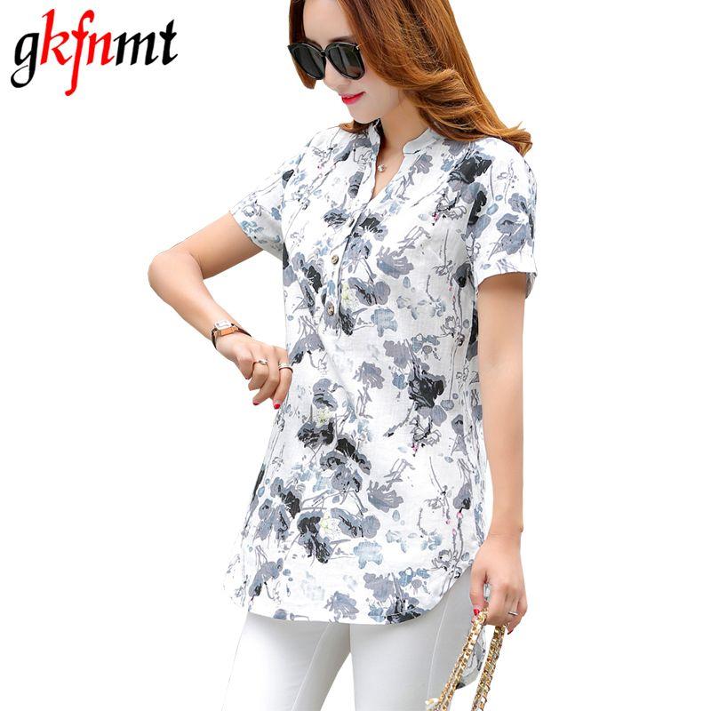 Gkfnmt 2018 haut pour femme XXXL été Style Floral imprimé coton linge chemises femme Vintage à manches courtes Blouse col en v grande taille