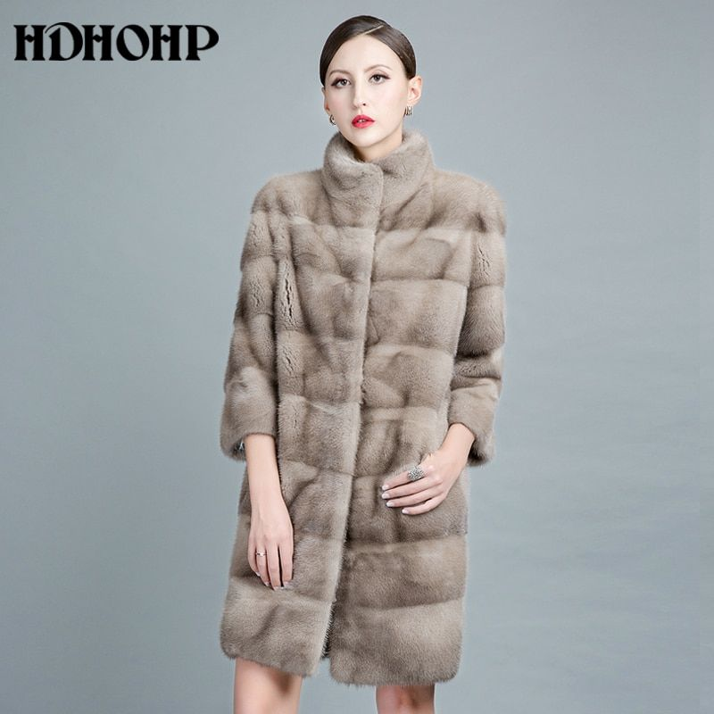 HDHOHP 2017 New Natural Mink Fur Coats For Women Outwear Park With Fur For Female Warm Vest Winter Real Mink Fur Jackets