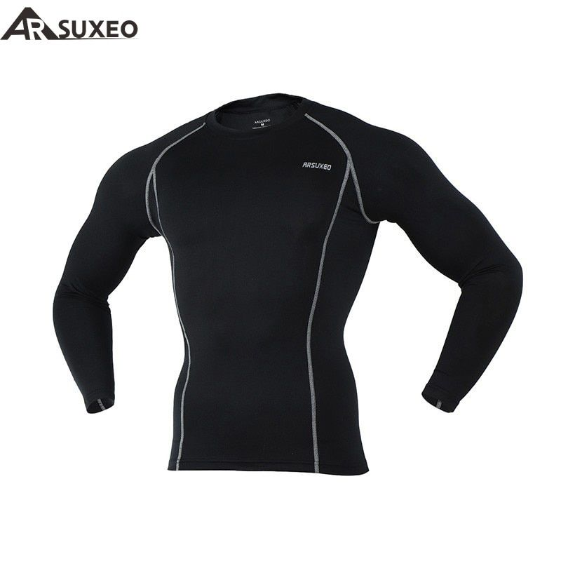 2017 ARSUXEO Men Compression Tights Base Layer Running Long Sleeves Shirts  Workout GYM T Shirt Clothing C19