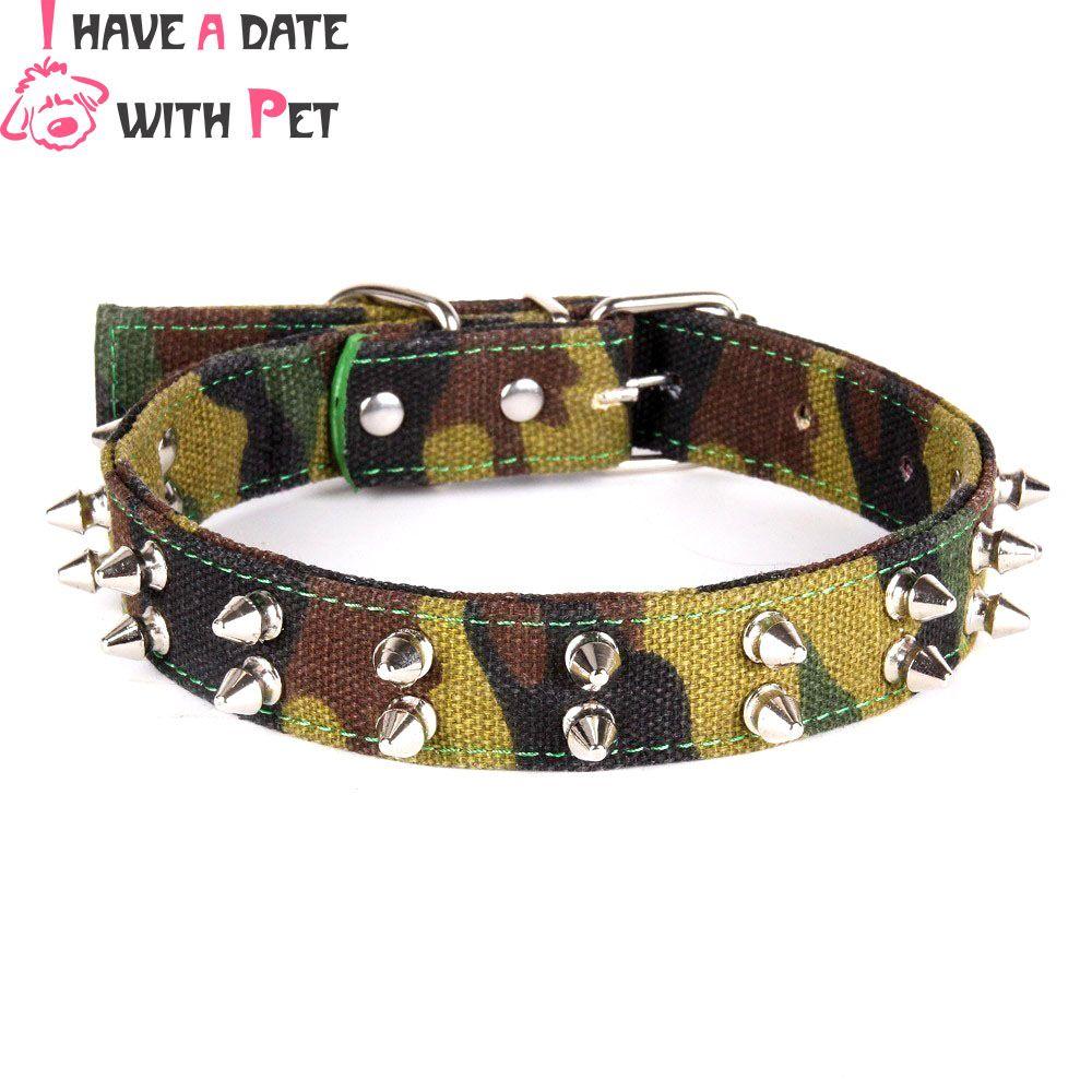 Animal de compagnie produit armée vert camouflage toile grand collier de chien pointu clouté plomb Pitbull bouledogue pour moyen grand chien fournitures