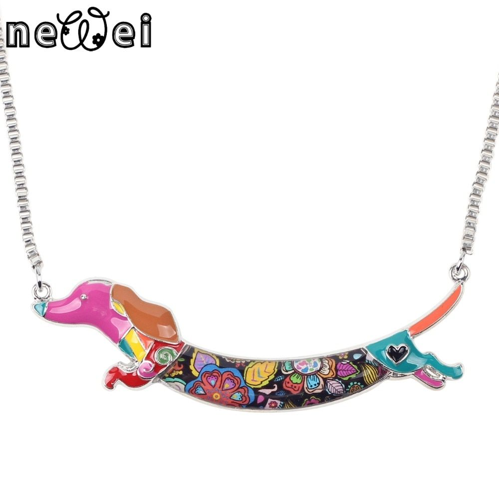 Newei Statement Metal Alloy Enamel Animal Pets Dachshund Dog Choker Necklace Chain Collar Pendant Fashion New Jewelry For Women