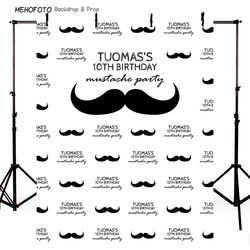 Customized Vinyl Photography Background Beard Handlebar Mustache Newborn Birthday Children Backdrop for Photo Studio PA-014