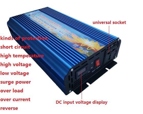 Hohe frequenz 2500 watt Reine Sinus Welle Power Inverter peak power 5000 watt DC12V/24 v/36 v /48 v zu AC110V/230 v digital display