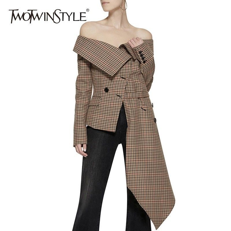 TWOTWINSTYLE Off Shoulder Plaid Blazer Female Jacket Slash Neck Long Sleeve Irregular Hem Plus Size Women's Coats Autumn Fashion