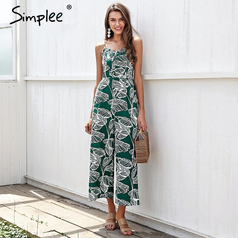 Simplee Strap tropical jumpsuit romper women Smocking button wide leg summer jumpsuit 2018 Casual print overall jumpsuit macacao