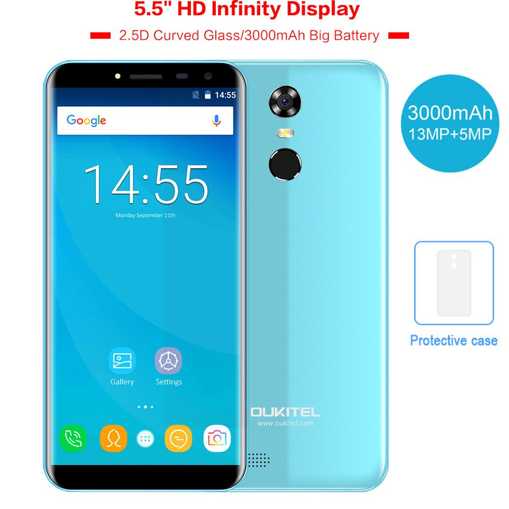 OUKITEL C8 5.5 <font><b>18:9</b></font> Infinity Dispaly Curved 3G Mobile Phone Android 7.0 Quad Core 2GB+16GB Fingerprint 8MP 3000mAh Smartphone