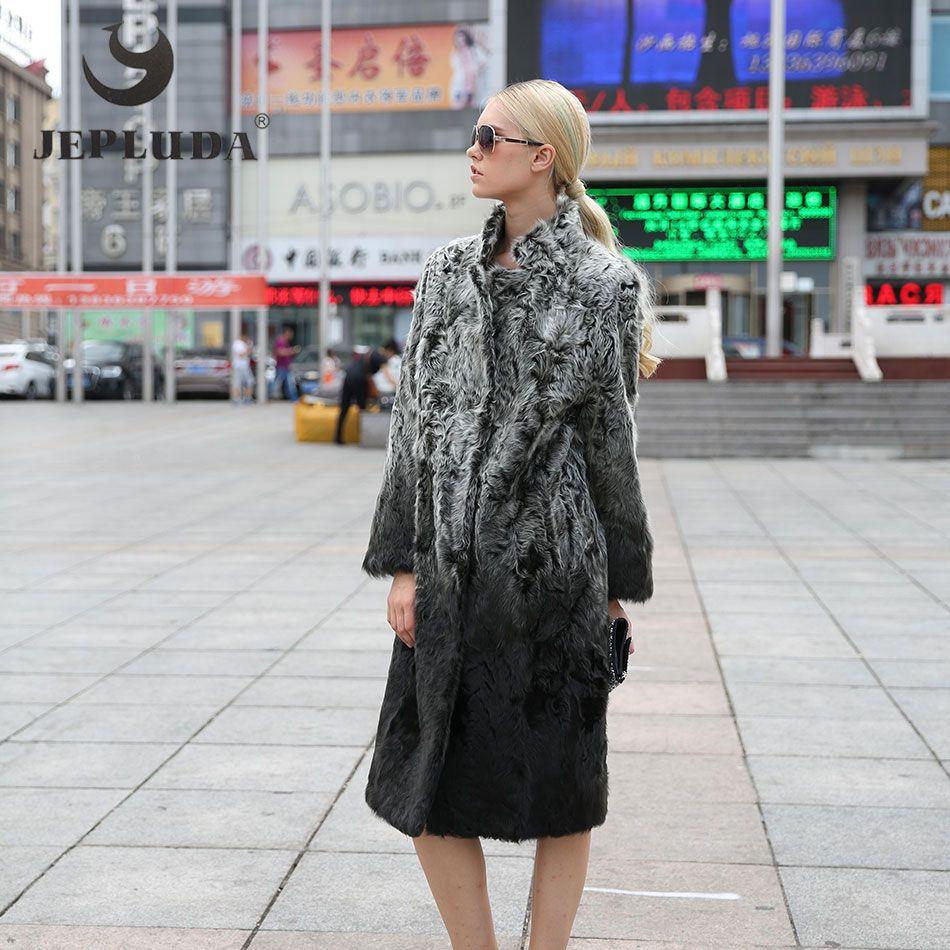 JEPLUDA Women Winter Real Fur Coat New Fashion New Popular Color Turn-down Collar Long Coats Lamb Fur Winter Jacket 68H01-104