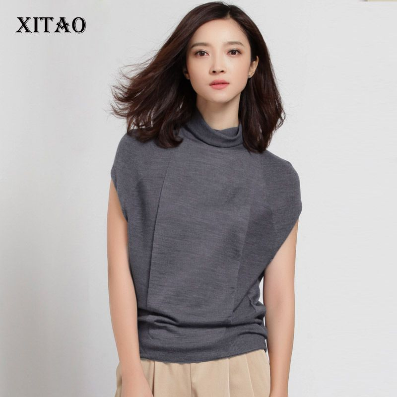 [XITAO] 2017 Autumn New Elegant Women Loose 50% Wool Solid Turtleneck Pullover Thin Sleeveless Casual Style Sweater HHB-002