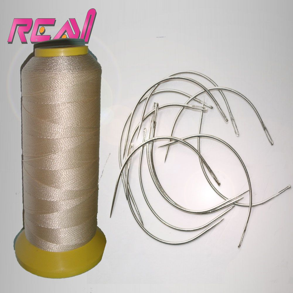 Blonde Color Hair Weaving Thread/ High Intensity Polyamide Nylon Thread / Hair Extension Tools With 24Pcs C Type Hair Needles