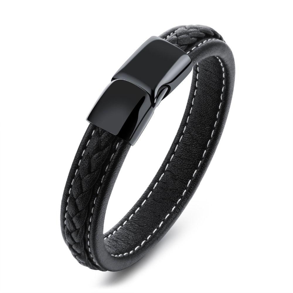 Fate amor moda joyería hombres pulsera Brazaletes pulsera de cuero negro para niño Acero inoxidable ph1101