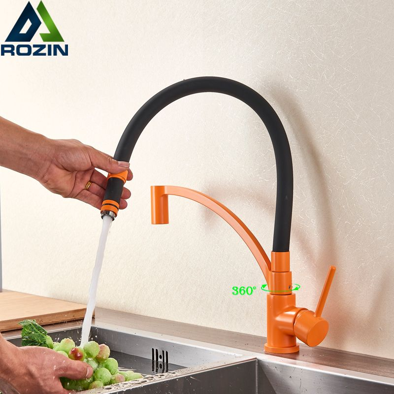 Orange Black Pipe Pull Down Kitchen Faucet Bathroom Vanity Sink Taps Deck Mounted Green Color Kitchen Hot Cold Water Faucet