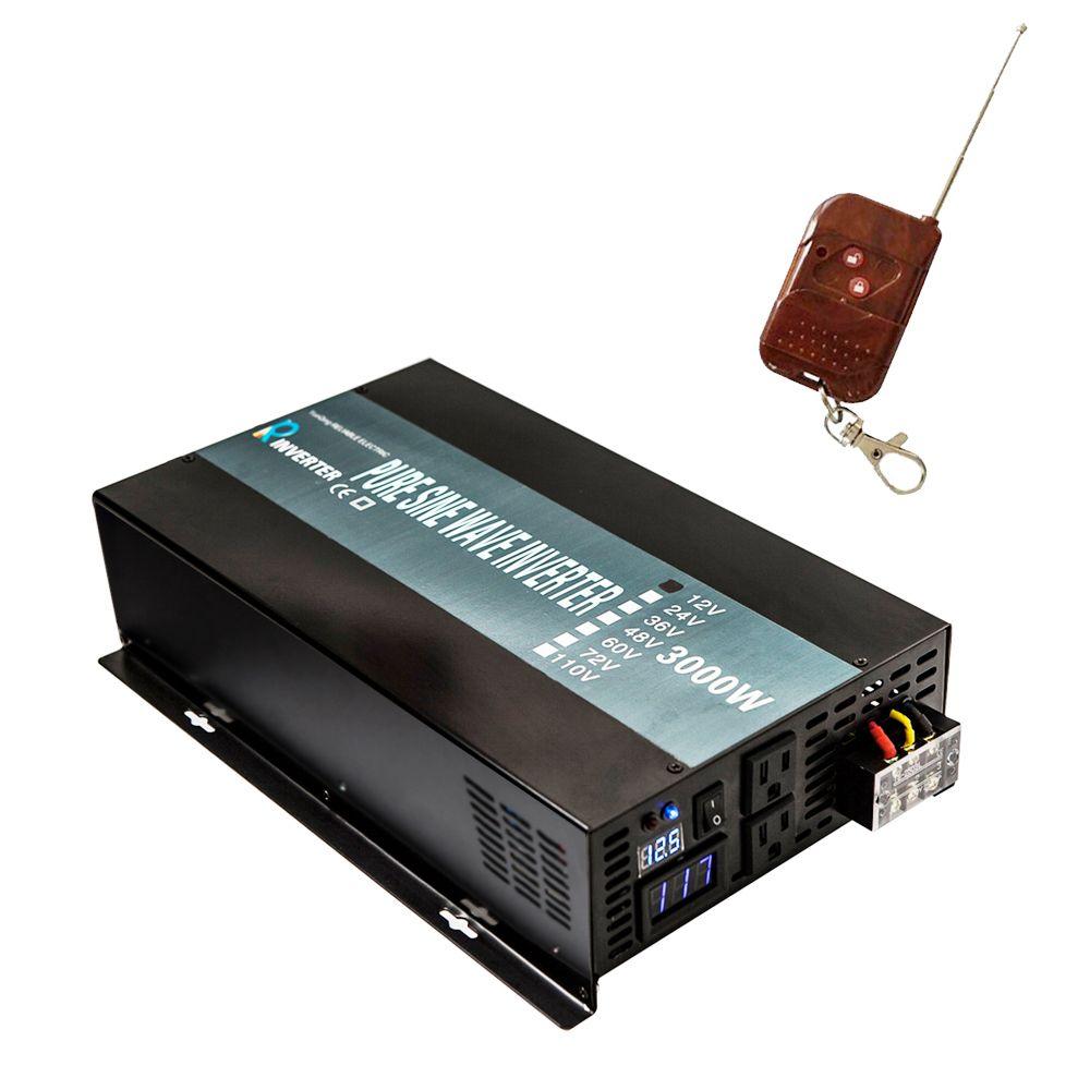 3000W DC to AC Power Inverter 24V 220V Pure Sine Wave Solar Inverter Transformer 12V 24V 48V to 120V 220V 240V Remote Controller