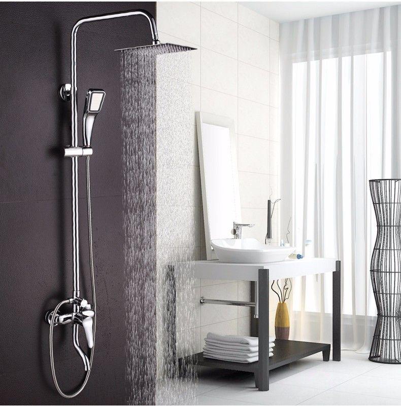 Big <font><b>promotion</b></font> 8 inch 3 Function Chrome Finish Brass Made Shower Faucet Shower Set Rain Shower Head Tub Mixer Faucet for bathroom
