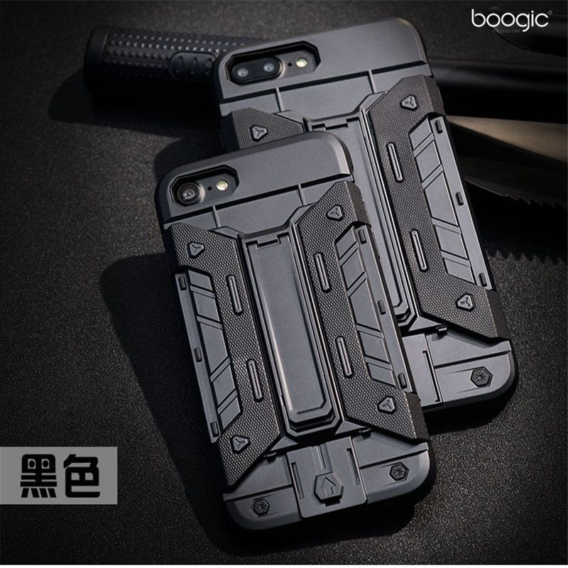 2 in 1 Armor Phone Shell for Apple iPhone X 5s SE 6 6s 7 8 Plus Soft  TPU Insole Rugged Hard Cover Case with Kickstand&Card Slot