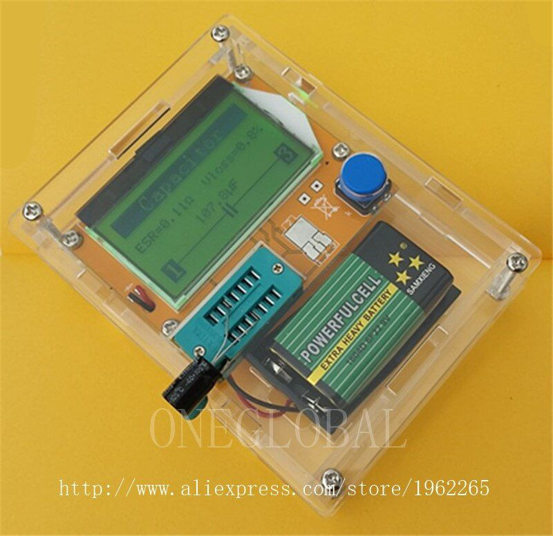 Portable ESR Meter Transistor Tester Capacitance  Dthyristors diodes Triode FET,  MOS NPN graphics display CASE (not Battery )