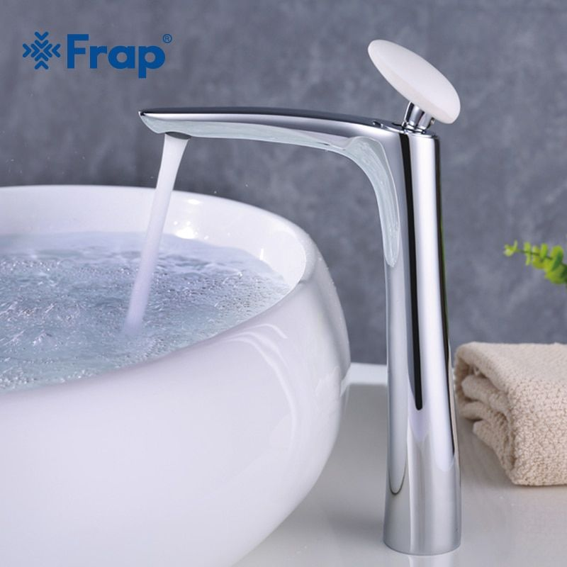 Frap New brass High chrome bath Basin faucet Bathroom water sink tap mixer Crane Torneira with white round handle Y10018