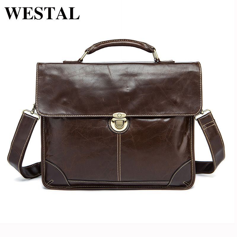 WESTAL Genuine Leather Men Bags male Men's Handbags Fashion business Laptop Briefcases Portfolio shoulder Tote crossbody bags
