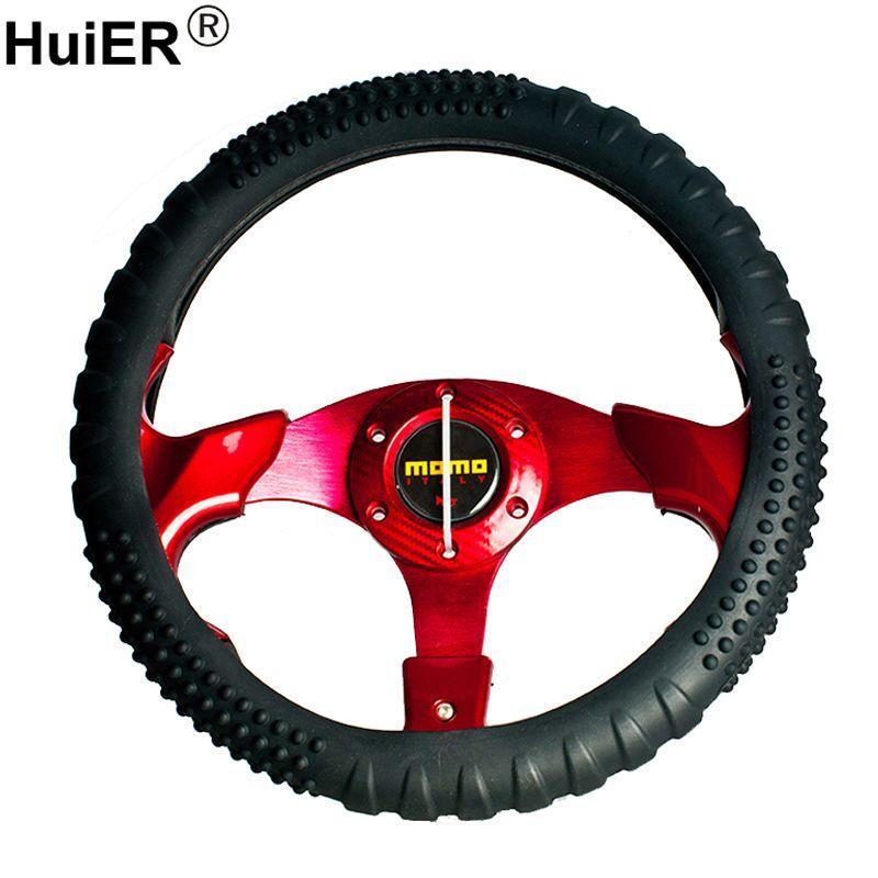 HuiER Silicone Car Steering Wheel Cover Anti-slip 36-40CM/14.2