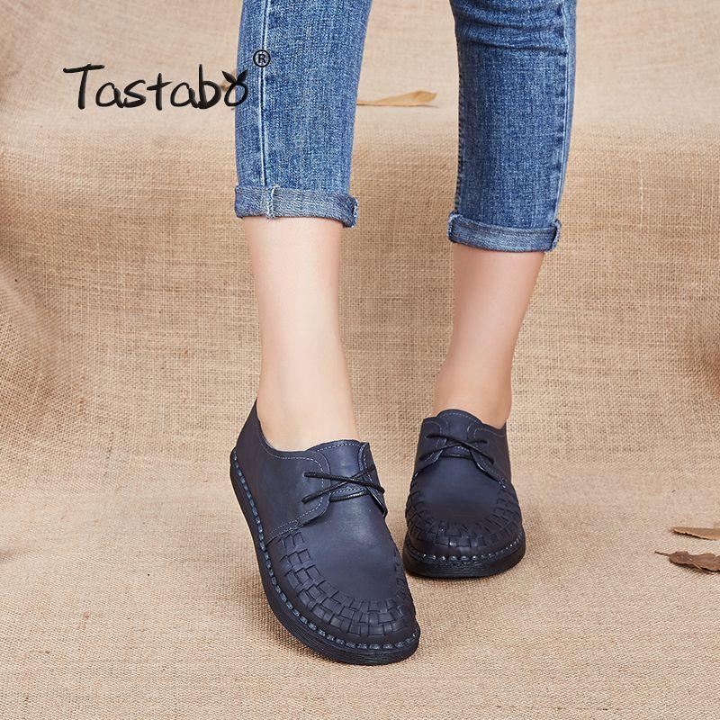 Tastabo Véritable En Cuir Oxford Chaussures Pour Femmes Bout Rond Dentelle-Up Casual Chaussures Printemps Et Automne Plat Mocassins Chaussures main Plat