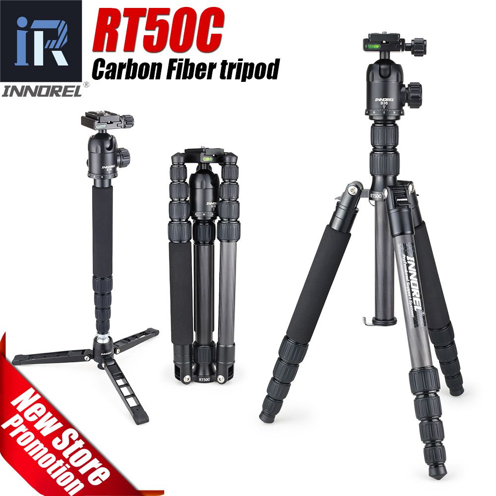 RT50C Portable Travel Professional Carbon fiber Tripod Monopod Panoramic Ball head for DSLR Digital camera lightweight compact
