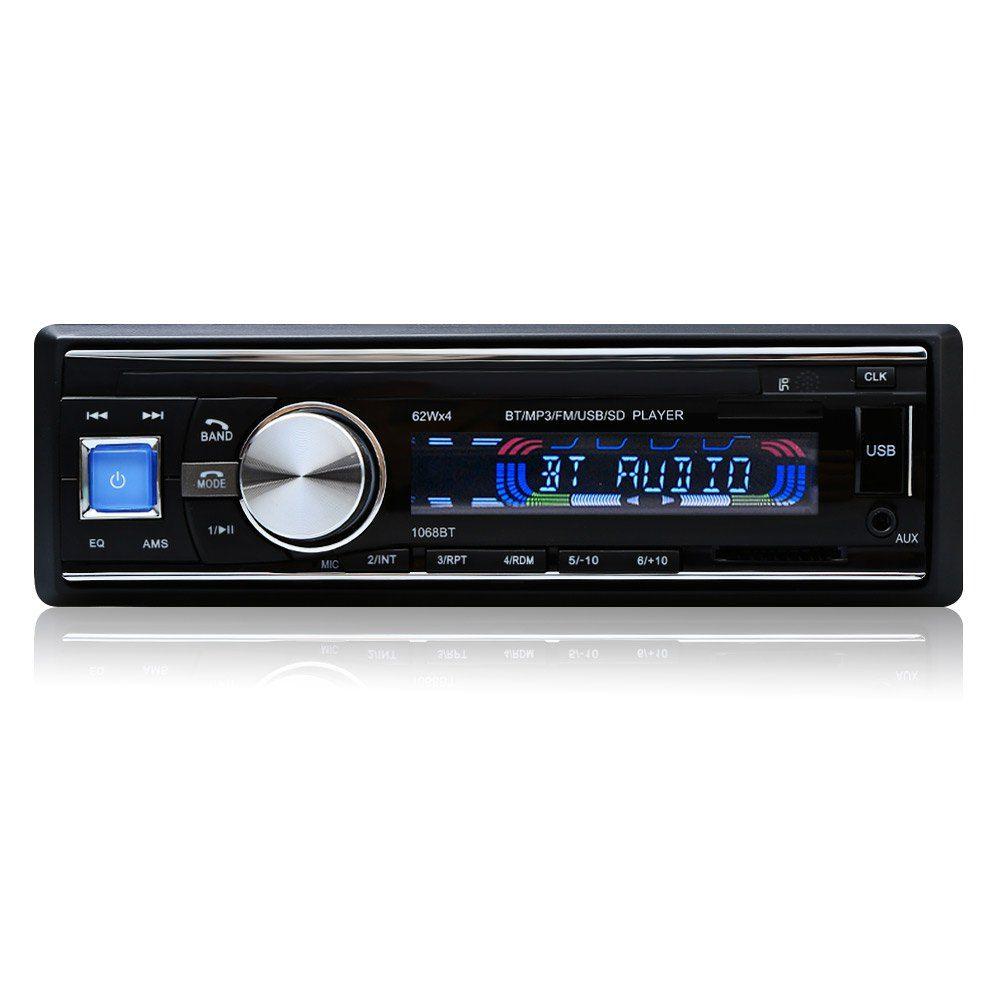 Лидер продаж автомобилей Радио 1068 стерео-плеер Bluetooth телефон AUX MP3 FM/USB/1 din/Дистанционное управление iphone 12 В Аудиомагнитолы автомобильные Эле...