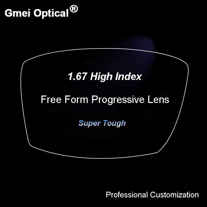 1,67 Digitale Freies Form Progressive Keine-Line Brenn Rezept Maßgeschneiderte Optische Linsen Mit Antireflexbeschichtung 2 Stücke