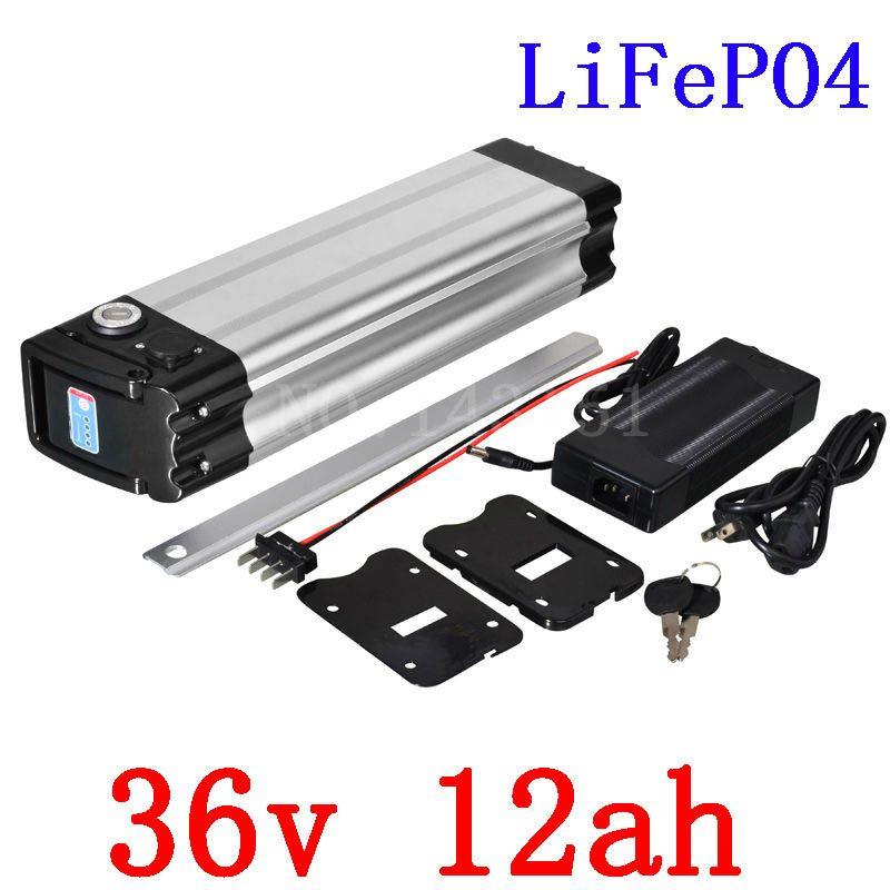Hochwertige Elektrische fahrradbatterie 36 V 12AH LiFePO4 batterie silber fisch mit 2A ladegerät 36 V LFP lifepo4 Batterie bodenentleerung