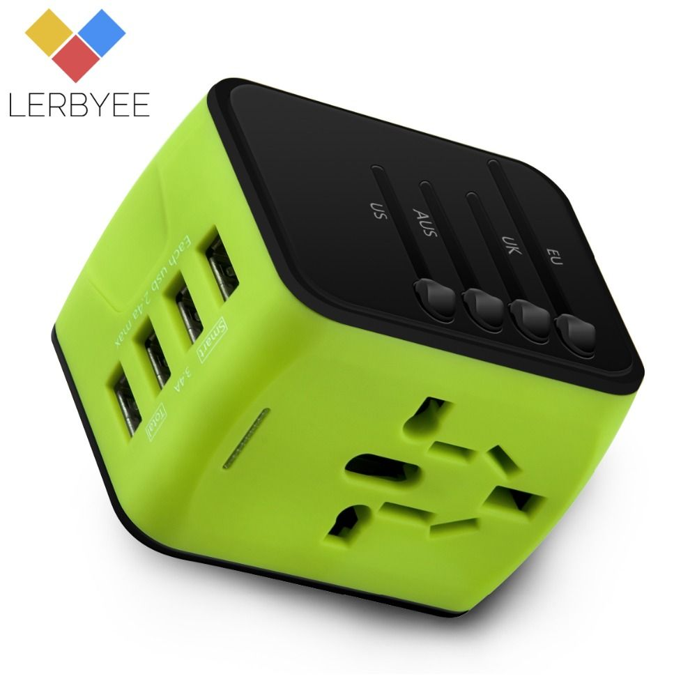 Lerbyee New Travel Adapter International Universal Power Adapter with 4 USB Worldwide Wall Power Plug Charger for UK/EU/AUS/US