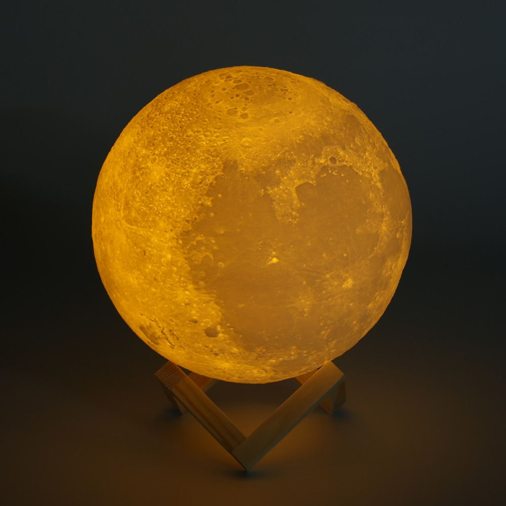Rechargeable 3D Print Moon Lamp 2/3/7 Color <font><b>Change</b></font> Touch Switch Bedroom Bookcase Night Light Home Decor Creative Gift 8-20cm Dia