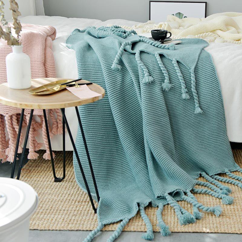 130*170 cm Grün Plaids Nordic Stil Beiläufige Gestrickte Decken Mit Quaste koc narzuta Decken für Betten Sofa Abdeckung decke