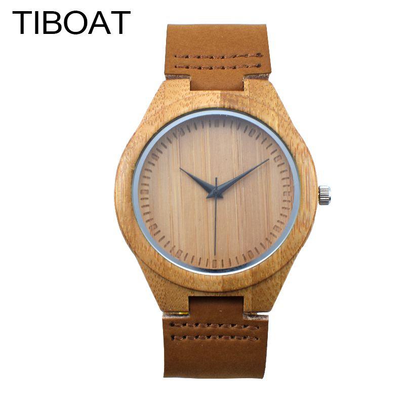 Новинка 2017 года Лидирующий бренд Для мужчин бамбук деревянный Watch унисекс кварцевые натуральная кожа ремень Для мужчин Часы Для женщин часы