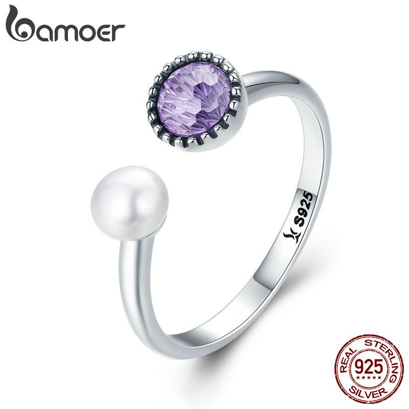 BAMOER 100% Genuine 925 Sterling Silver Purple CZ Adjustable Female Rings for Women Sterling Silver Jewelry S925 Gift SCR240