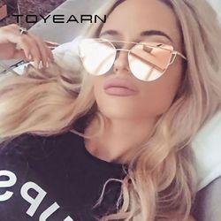 TOYEARN Mode Vintage Dames Cat Eye lunettes de Soleil Femmes Hommes Marque Designer Or Rose Double-Faisceau Miroir Soleil Lunettes Pour femelle