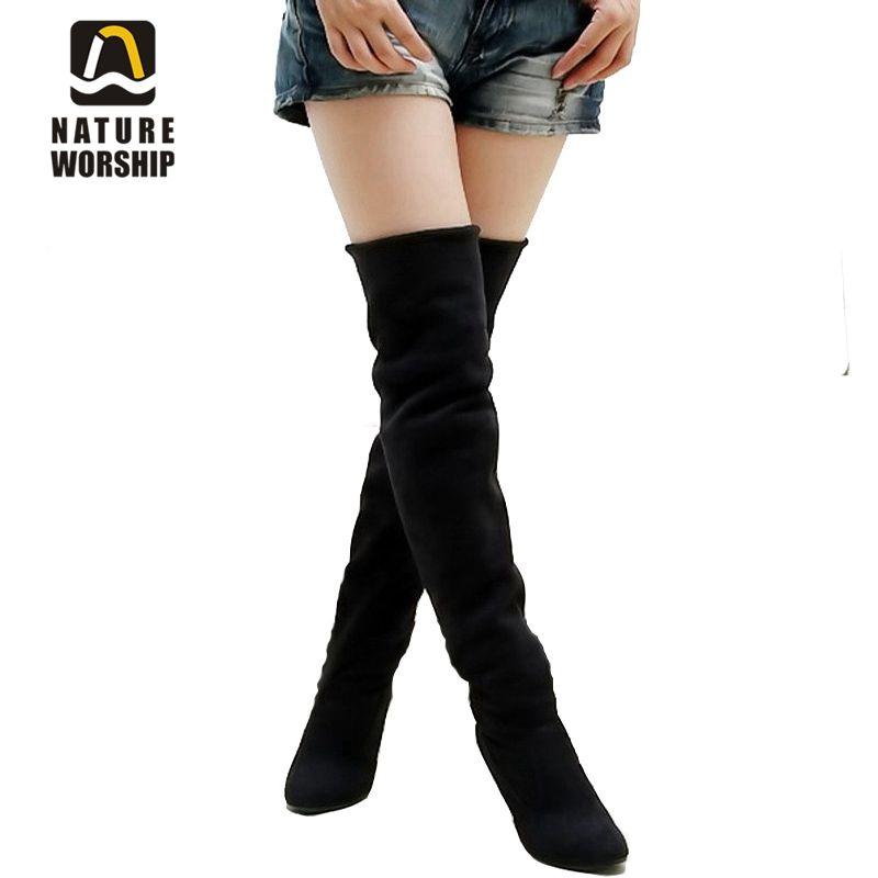 Vente chaude de mode de longues bottes pour femmes Nubuck En Cuir sexy Tuyau de Poêle longues bottes Sur le Genou haute talons femmes bottes taille 34-43